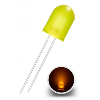 LED Diode 10mm, Diffuse yellow